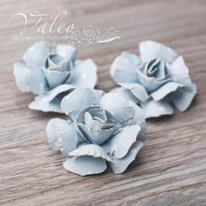 Декоративные бумажные Розы 40*40мм 3шт цвет голубой в белый горох 2950 Valeo