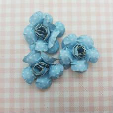 Декоративные бумажные Розы 40*40мм 3шт цвет голубой в белый горох 2955 Valeo