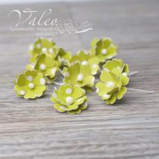 Декоративные бумажные Незабудки мини 20*20мм 10шт цвет зеленый в белый горох 2965 Valeo