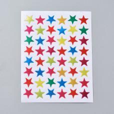 Набор наклеек Звездочки разноцветные, 125x95мм; звезда13мм; 48 шт/лист