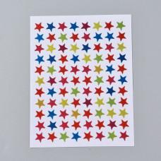 Набор наклеек Звездочки разноцветные, 125x95мм; звезда 9мм; 80 шт/лист