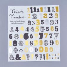 Набор наклеек Цифры праздничные, серебро и золото, 13х13 см
