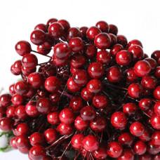 Глянцевые ягоды (калина), 1 веточка, 2 ягодки, 1 см, цвета марсала