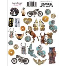 Набор наклеек (стикеров) #084, Grunge&Mechanics, Фабрика Декора