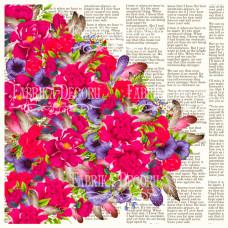 Деко веллум (лист кальки с рисунком) Цветы и текст, Фабрика Декору