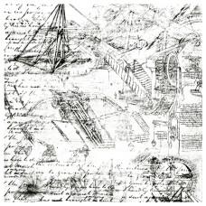 Деко веллум (лист кальки с рисунком) Винтажный чертеж, Фабрика Декора
