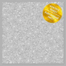 Ацетатный лист с фольгированием White Poinsettia, Фабрика Декора