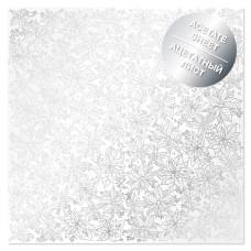 Ацетатный лист с фольгированием Silver Poinsettia, Фабрика Декора