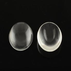 Прозрачный стеклянный кабошон 40x30мм, толщина 8мм, 1 шт.