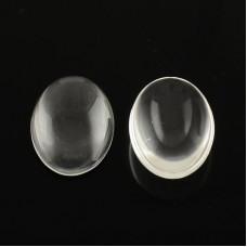Прозрачный стеклянный кабошон 45x34мм, толщина 8.5мм, 1 шт.