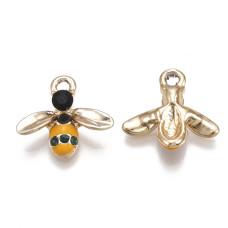Подвеска с эмалью и кристаллами, пчела, золото с оранжевым, 15x16.5x3.5 мм