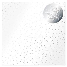 Ацетатный лист с фольгированием Silver Drops 30,5х30,5 см, Фабрика Декора