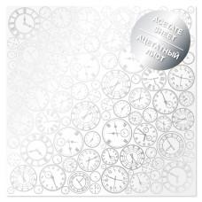 Ацетатный лист с фольгированием Silver Clocks 30,5х30,5 см, Фабрика Декору