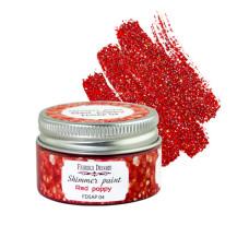Краска с глиттером Shimmer paint Красный мак 30 мл, Фабрика Декора