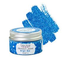 Краска с глиттером Shimmer paint Ярко-синий 30 мл, Фабрика Декора