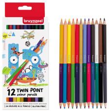 Набор детских двухсторонних цветных карандашей 12цв Bruynzeel