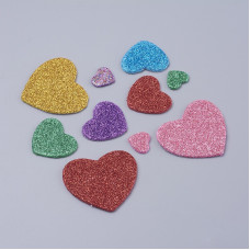 Набор вспененных наклеек с глиттером, разноцветные сердечки, 13-48 мм, 37 шт