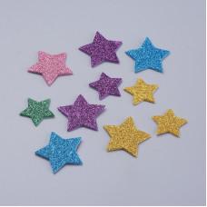 Набор вспененных наклеек с глиттером, разноцветные звезды, 16-35 мм, 49 шт