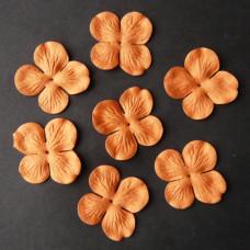 Набор 10 цветков гортензии оранжевого цвета 35 мм