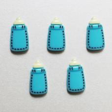 Кабошон голубого цвета Детская Бутылочка, 12x22 мм, 1 шт