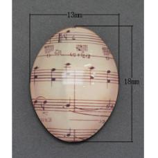 Кабошон Ноты бежевого цвета, овальный, 13х18 мм