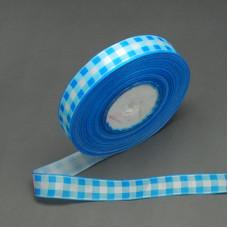 Атласная лента с принтом в голубую клетку, ширина 25 мм, длина 90 см