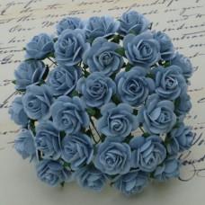 Набор 10 декоративных бумажных роз голубого цвета, 10 мм