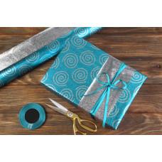 Бумага упаковочная, Завитки, серебристо-голубой, 70х50 см