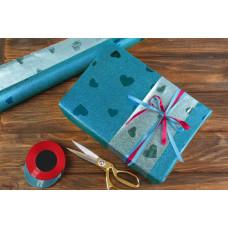 Бумага упаковочная, Сердца, серебристо-голубой, 70х50 см