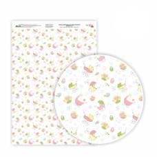 Бумага дизайнерская односторонняя Sweet Girl 7, 21х29,7 см, глянцевый, 250 г / м2, ROSA TALENT
