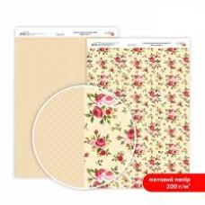 Бумага дизайнерская двусторонняя матовая, Магия роз 1, 21х29,7 см, 200 г/м2, Rosa Talent