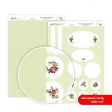 Бумага дизайнерская двусторонняя матовая, Магия роз 4, 21х29,7 см, 200 г/м2, Rosa Talent