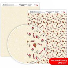 Бумага дизайнерская двусторонняя матовая, Christmas 1, 21х29,7 см, 200 г/м2, Rosa Talent