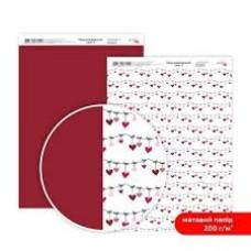 Бумага дизайнерская двусторонняя матовая, Love 2, 21х29,7 см, 200 г/м2, Rosa Talent