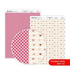 Бумага дизайнерская двусторонняя матовая, Love 3, 21х29,7 см, 200 г/м2, Rosa Talent