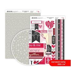 Бумага дизайнерская двусторонняя матовая, Love 8, 21х29,7 см, 200 г/м2, Rosa Talent