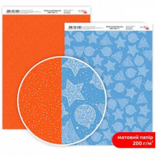 Бумага дизайнерская двусторонняя матовая New Year 2, 21х29,7 см, 200 г/м2, Rosa Talent