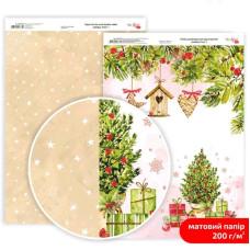 Бумага дизайнерская двусторонняя матовая Holiday Time 1, 21х29,7 см, 200 г/м2, Rosa Talent