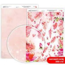 Бумага дизайнерская двусторонняя матовая Valentine's Mood 4, 21х29,7 см, 200 г/м2, Rosa Talent