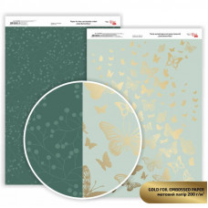 Бумага дизайнерская двусторонняя матовая, Gold Butterflies с тиснением, 21х29,7см, 200 г / м2, Rosa Talent