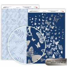 Бумага дизайнерская двусторонняя матовая, Silver Butterflies с тиснением, 21х29,7см, 200 г / м2, Rosa Talent