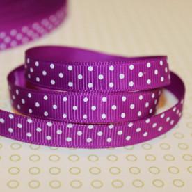 Репсовая лента в горошек фиолетового цвета, ширина 10 мм, длина 90 см