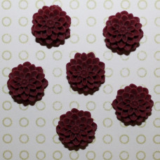 Кабошон Хризантема бордового цвета, диаметр 15 мм, высота 8 мм, 1 шт