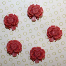 Кабошон Роза терракотового цвета, диаметр 15 мм, высота 5 мм, 1 шт