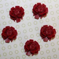 Кабошон Роза красного цвета, диаметр 15 мм, высота 5 мм, 1 шт