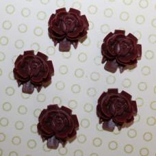 Кабошон Роза бордового цвета, диаметр 15 мм, высота 5 мм, 1 шт
