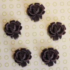 Кабошон Роза темно-фиолетового цвета, диаметр 15 мм, высота 5 мм, 1 шт
