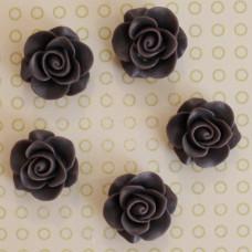 Кабошон роза темно-фиолетового цвета, диаметр 20 мм, толщина 9 мм