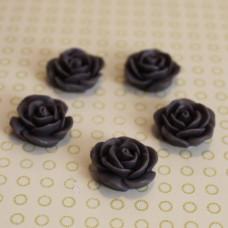 Кабошон розочка темно-фиолетового цвета, диаметр 17 мм, толщина 7 мм