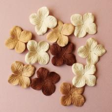 Набор 10 цветков гортензии в коричневых тонах, 40 мм